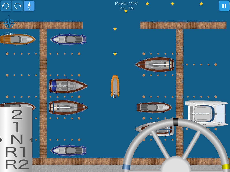 Screenshot shows dinghy maneuvering in habor