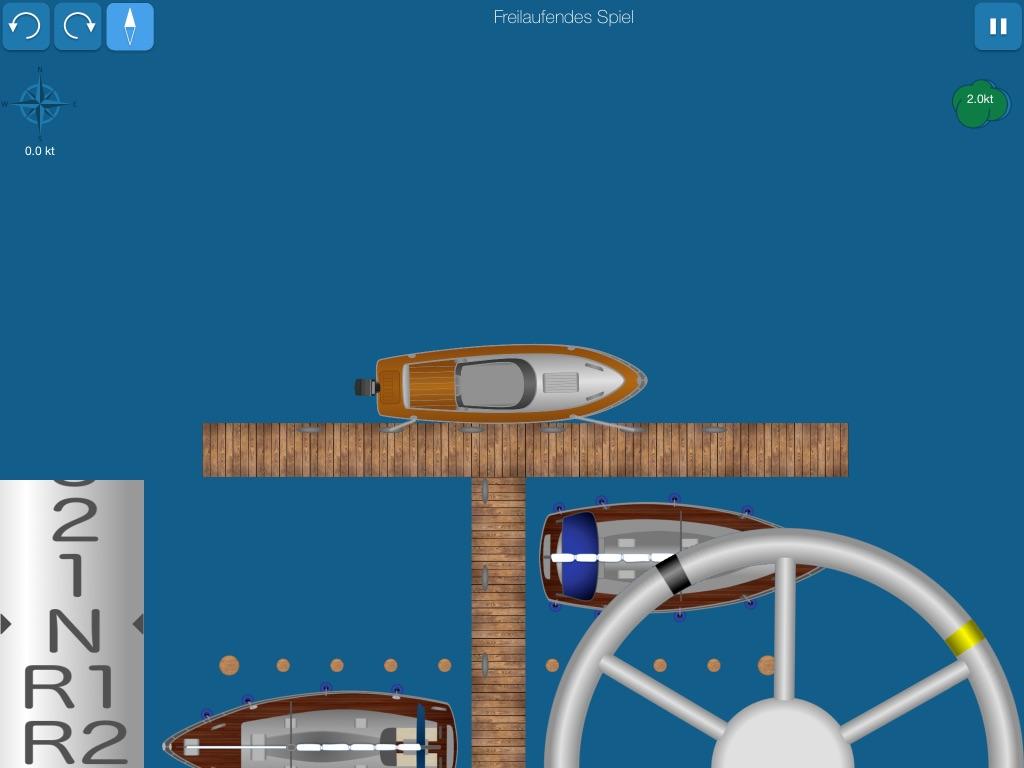 Screenshot shows motor boat moored