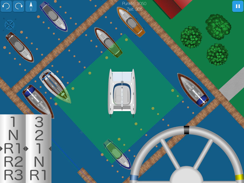 Screenshot shows catamaran turning